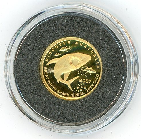 Thumbnail for 2007 One Twentififth oz Discover Australia - Great White Shark Proof in Capsule