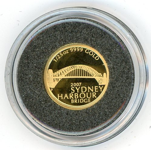 Thumbnail for 2007 One Twentififth oz Sydney Harbour Bridge Proof in Capsule