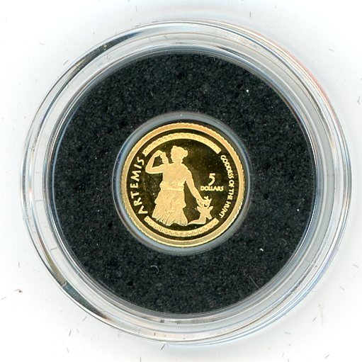 Thumbnail for 2009 Cook Islands 0.5 Gram .999 Five Dollars - Artemis
