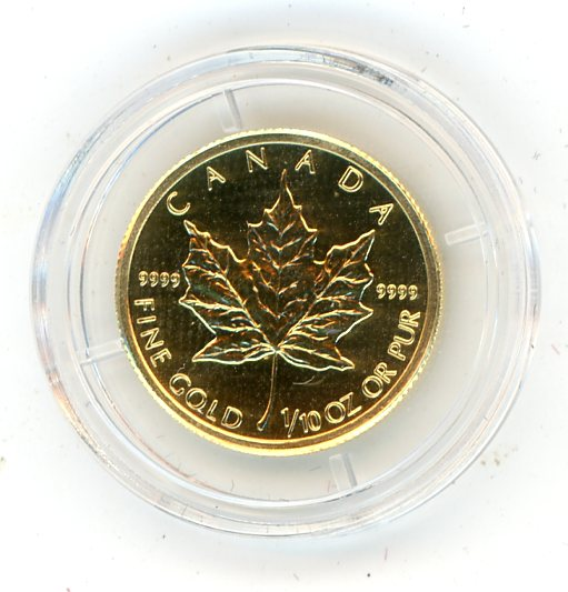 Thumbnail for 2010 One Tenth oz Canada Maple Leaf & Certificate