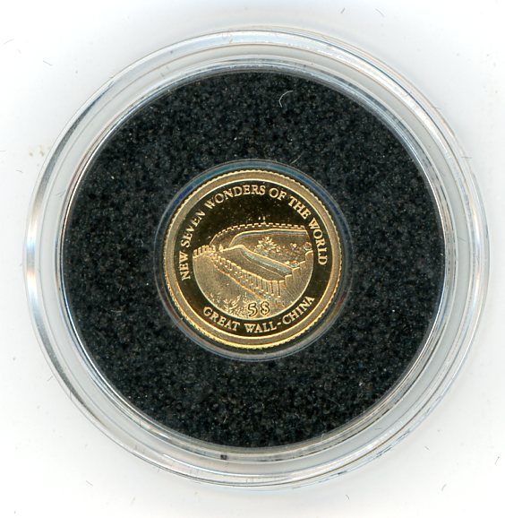 Thumbnail for 2011 Soloman Islands 0.5 Gram .585 Gold Five Dollars - Great Wall China