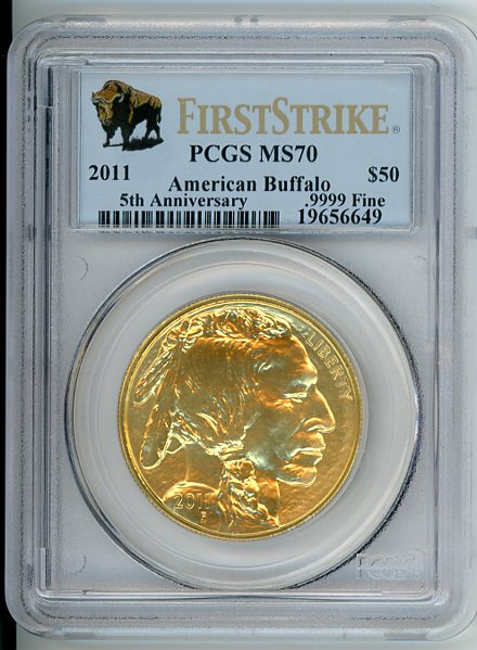 Thumbnail for 2011 US 1oz Buffalo  Slabbed PCGS MS70 First Strike 50th Anniversary