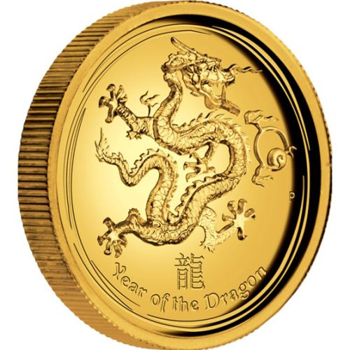 Thumbnail for 2012 Australian Lunar 1oz High Relief Gold Proof Coin Year of the Dragon