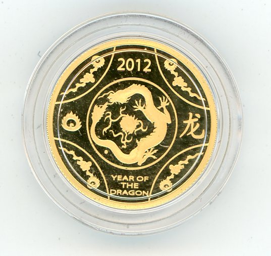Thumbnail for 2012 One Tenth oz Gold - Lunar Year of the Dragon in Capsule RAM