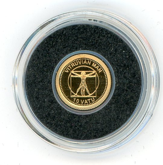 Thumbnail for 2013 Vanuatu 0.5 Gram .585 Gold 10 Vatu - Vitruvian Man