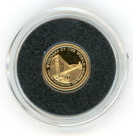 Thumbnail for 2012 Vanuatu 0.5 Gram .585 Gold 20 Vatu - Golden Gate Bridge San Fransisco