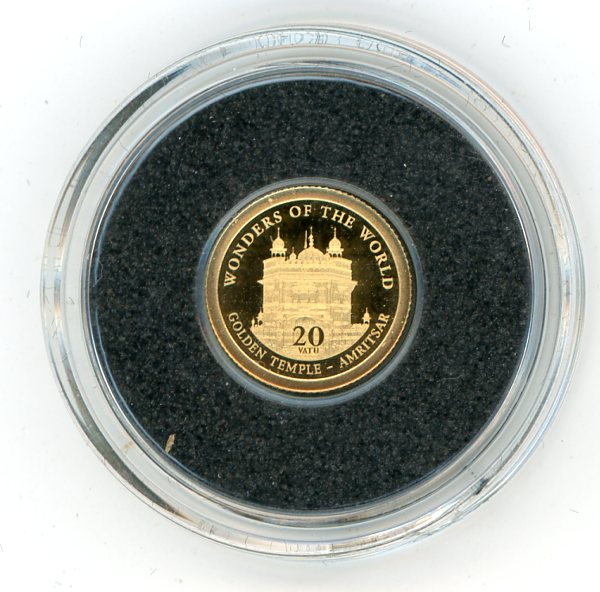 Thumbnail for 2012 Vanuatu 0.5 Gram .585 Gold 20 Vatu - Golden Temple Amritsar