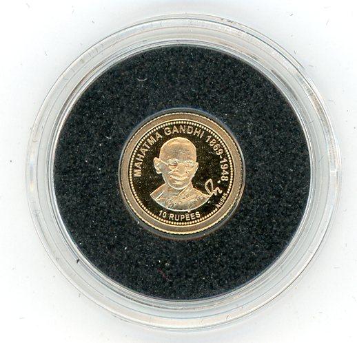 Thumbnail for 2013 Seychelles 0.5 Gram .585 Gold 10 Rupees - Mahatma Gandhi