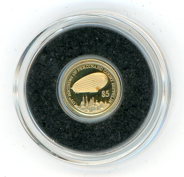 Thumbnail for 2013 Cook islands 0.5 Gram .585 Gold Five Dollars - Zeppelin Airship