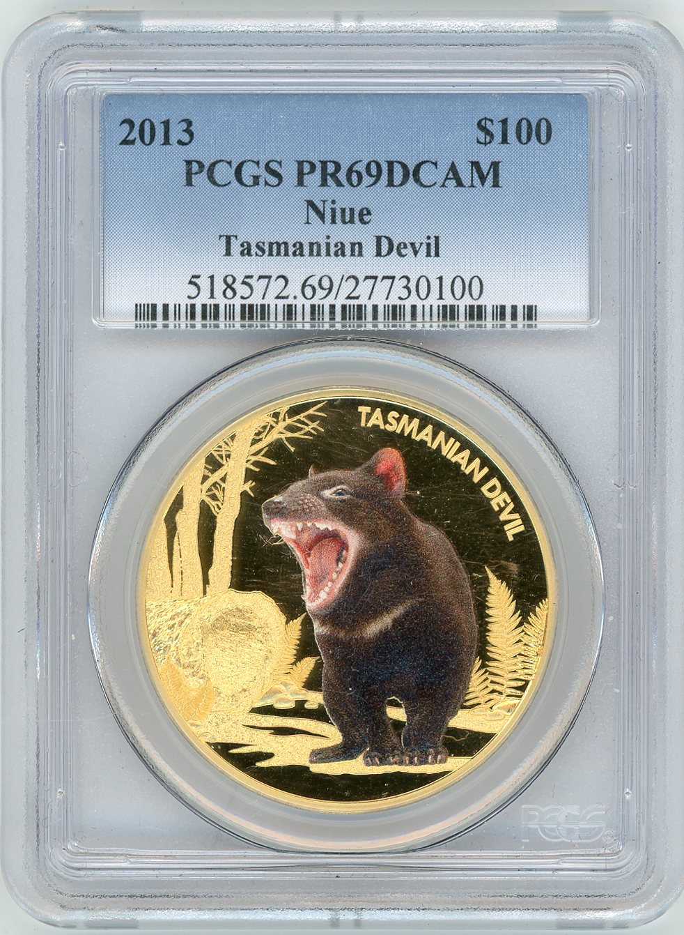 Thumbnail for 2013 Niue 1oz Coloured Proof Tasmanian Devil PCGS Slabbed PR69 DCAM