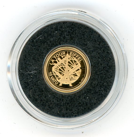 Thumbnail for 2013 Vanuatu 0.5 Gram  .585 Gold 10 Vatu - Eiffel Tower