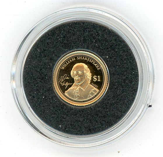 Thumbnail for 2014 Cook Islands 0.5 Gram  .585 Gold One Dollar - William Shakespeare