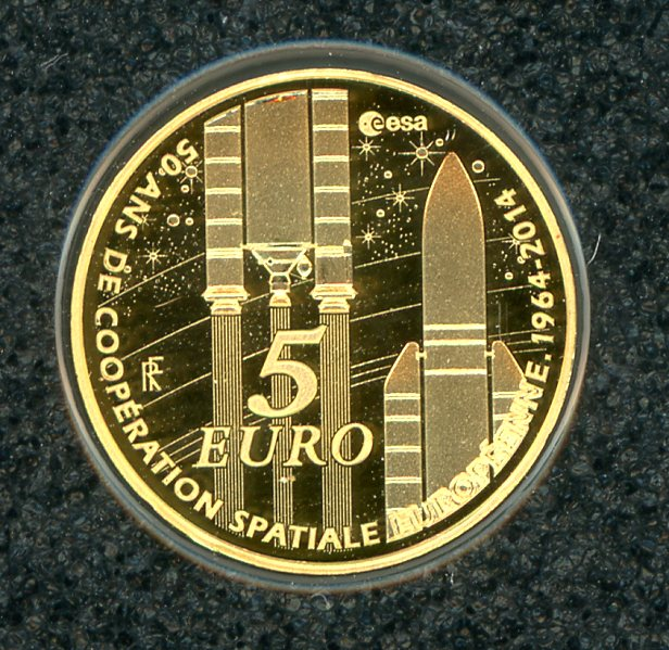 Thumbnail for 2014 France Gold Five Euro .05Gram .999 - 50th Anniversary of European Space
