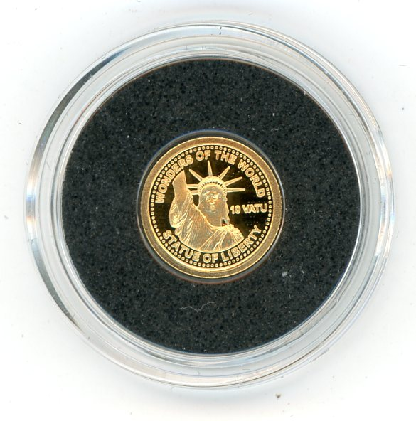 Thumbnail for 2014 Vanuatu 0.5 Gram  .585 Gold 10 Vatu - Staue of Liberty