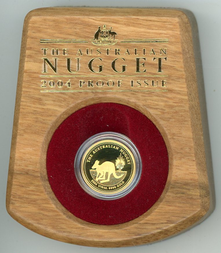 Thumbnail for 2004 One Tenth oz Australian Nugget Gold Proof Coin - Kangaroo