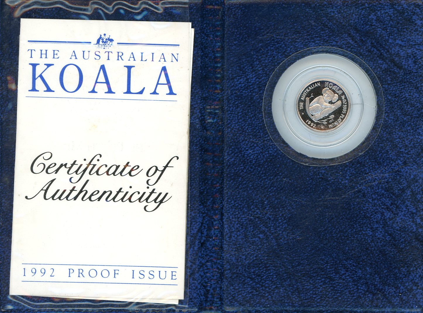 Thumbnail for 1992 $15 Platinum One Tenth oz Proof Issue Koala in Wallet