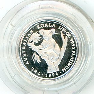 Thumbnail for 1994 One Twentieth oz Proof Platinum Koala in Capsule
