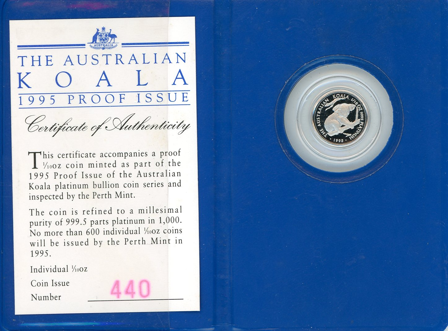 Thumbnail for 1995 $15 Platinum One Tenth oz Proof Issue Koala in Wallet
