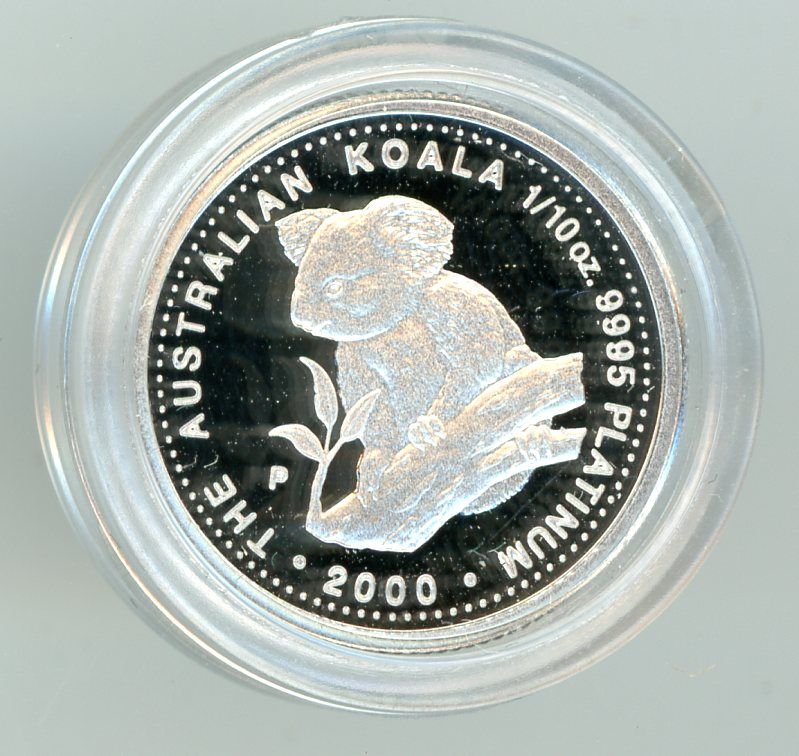 Thumbnail for 2000 $15 Platinum One Tenth oz Proof Issue Koala in Case