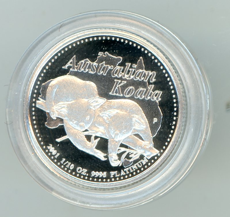 Thumbnail for 2001 $15 Platinum One Tenth oz Proof Issue Koala in Case