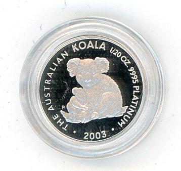 Thumbnail for 2003 Australian One Twentieth oz Koala in Capsule
