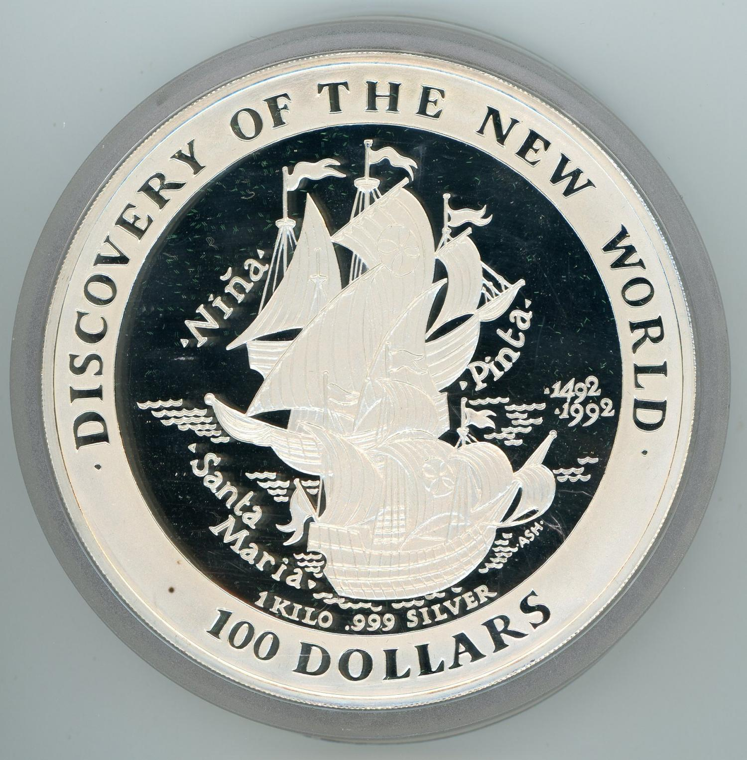 Thumbnail for 1992 Commonwealth of the Bahamas 1kg Silver - Discovery of the New World
