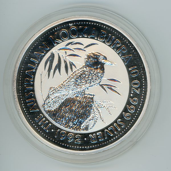 Thumbnail for 1992 10oz Kookaburra .999 Silver