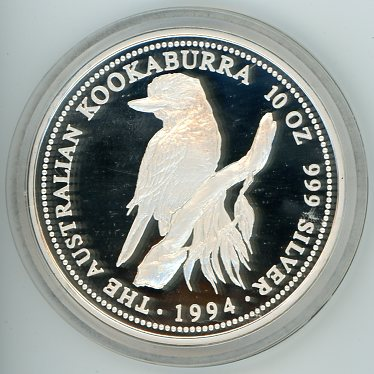 Thumbnail for 1994 10oz Proof Kookaburra .999 Silver
