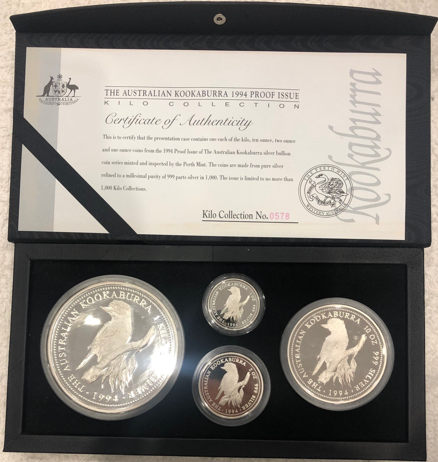 Thumbnail for 1994 Four Coin Kookaburra Proof Set - 45.15oz