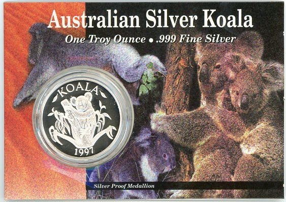 Thumbnail for 1997 1oz Silver Koala On Card