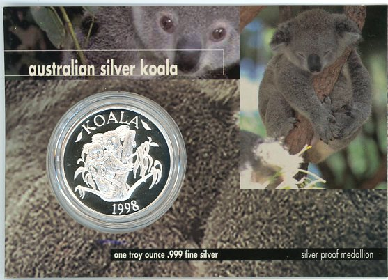 Thumbnail for 1998 1oz Silver Koala On Card