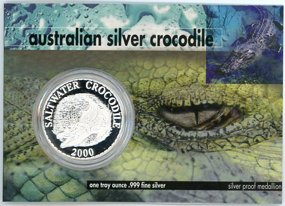 Thumbnail for 2000 1oz Silver Crocodile On Card