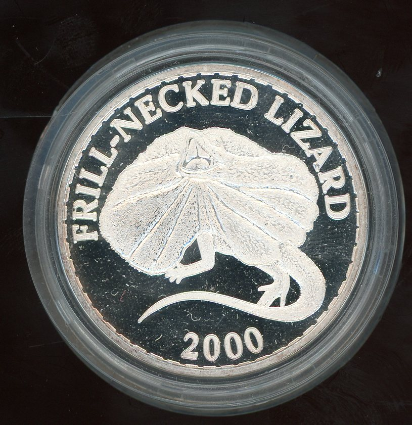 Thumbnail for 2000 One oz Silver Medallion .999 In Capsule - Frill Neck Lizard