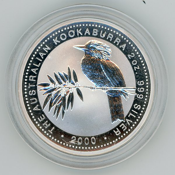 Thumbnail for 2000 2oz Kookaburra .999 Silver