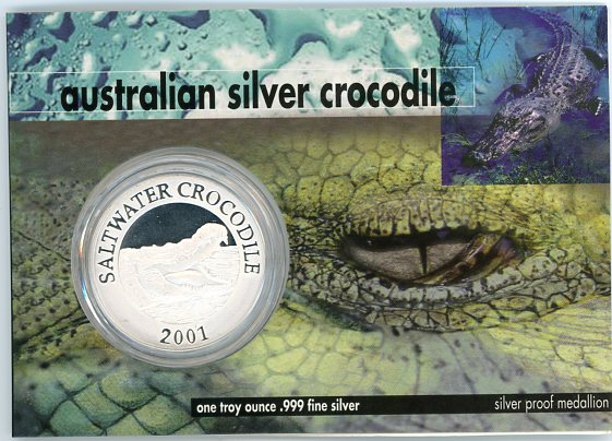 Thumbnail for 2001 1oz Silver Crocodile On Card