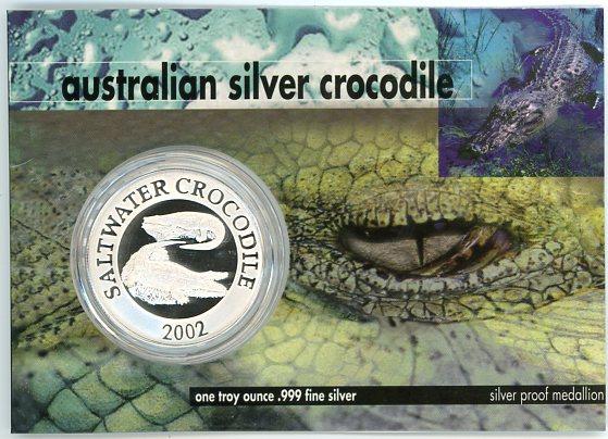 Thumbnail for 2002 1oz Silver Crocodile On Card