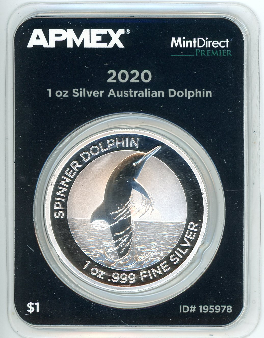 Thumbnail for 2020 Australian 1oz Silver Spinner Dolphin
