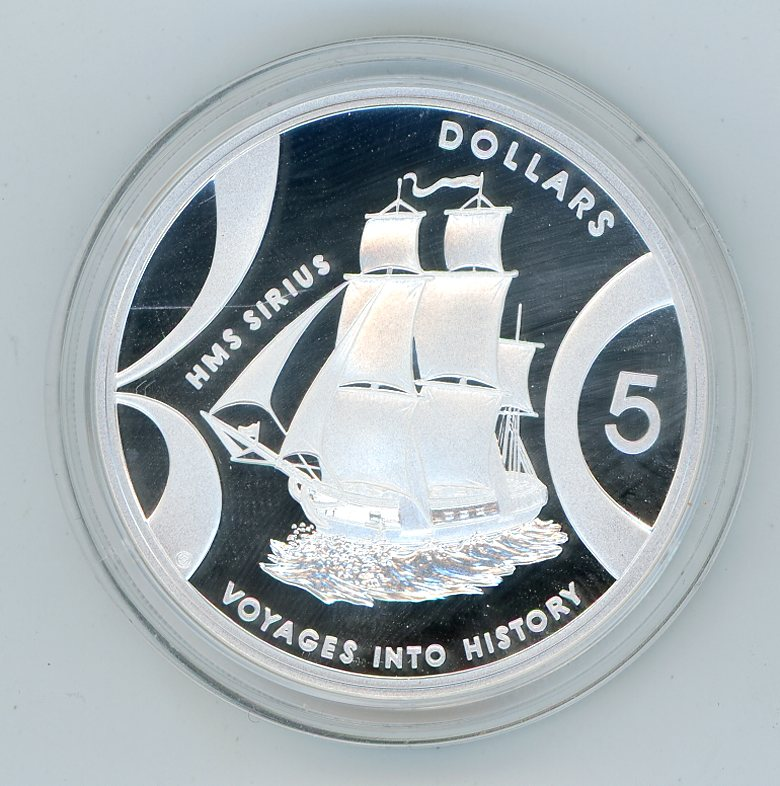 Thumbnail for 2002 $5 Silver Coin from Masterpieces in Silver Set - HMS Sirius. The coin is .999 Silver.