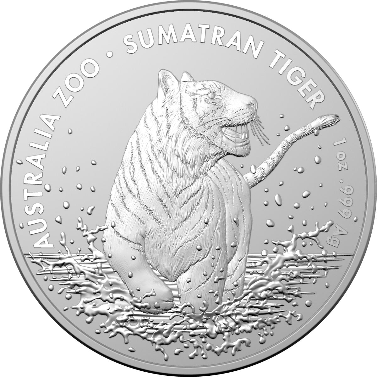 Thumbnail for 2020 1oz Silver Australian Zoo Sumatran Tiger  - Royal Australian Mint Issue
