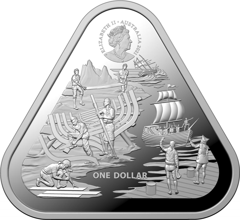 Thumbnail for 2021 $1 Australian Shipwreck Series - Zeewijk 1oz Triangular Bullion Investment Coin in Capsule