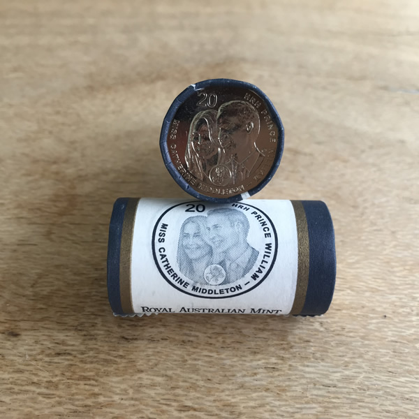 Thumbnail for 2011 Royal Wedding Prince William & Catherine Middleton 20c Coin Roll RAM