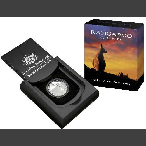 Thumbnail for 2014 $1.00 Silver Proof Coin - Kangaroo at Sunset