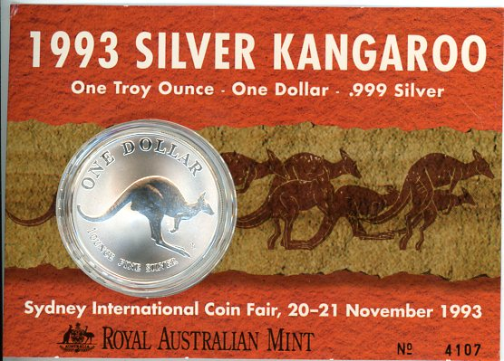 Thumbnail for 1993 1oz One Dollar Silver Kangaroo - Sydney International Coin Fair