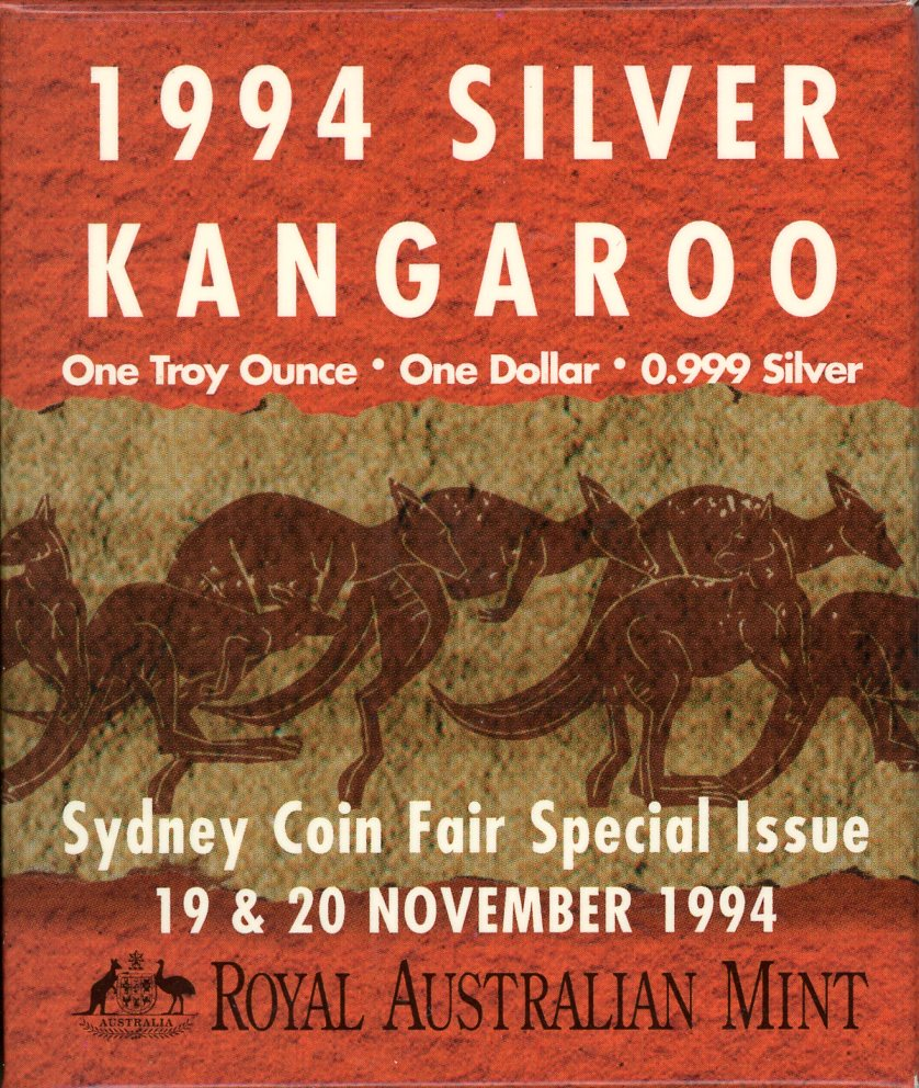 Thumbnail for 1994 $1 Kangaroo 1oz Silver Proof Coin - Sydney Coin Fair Issue
