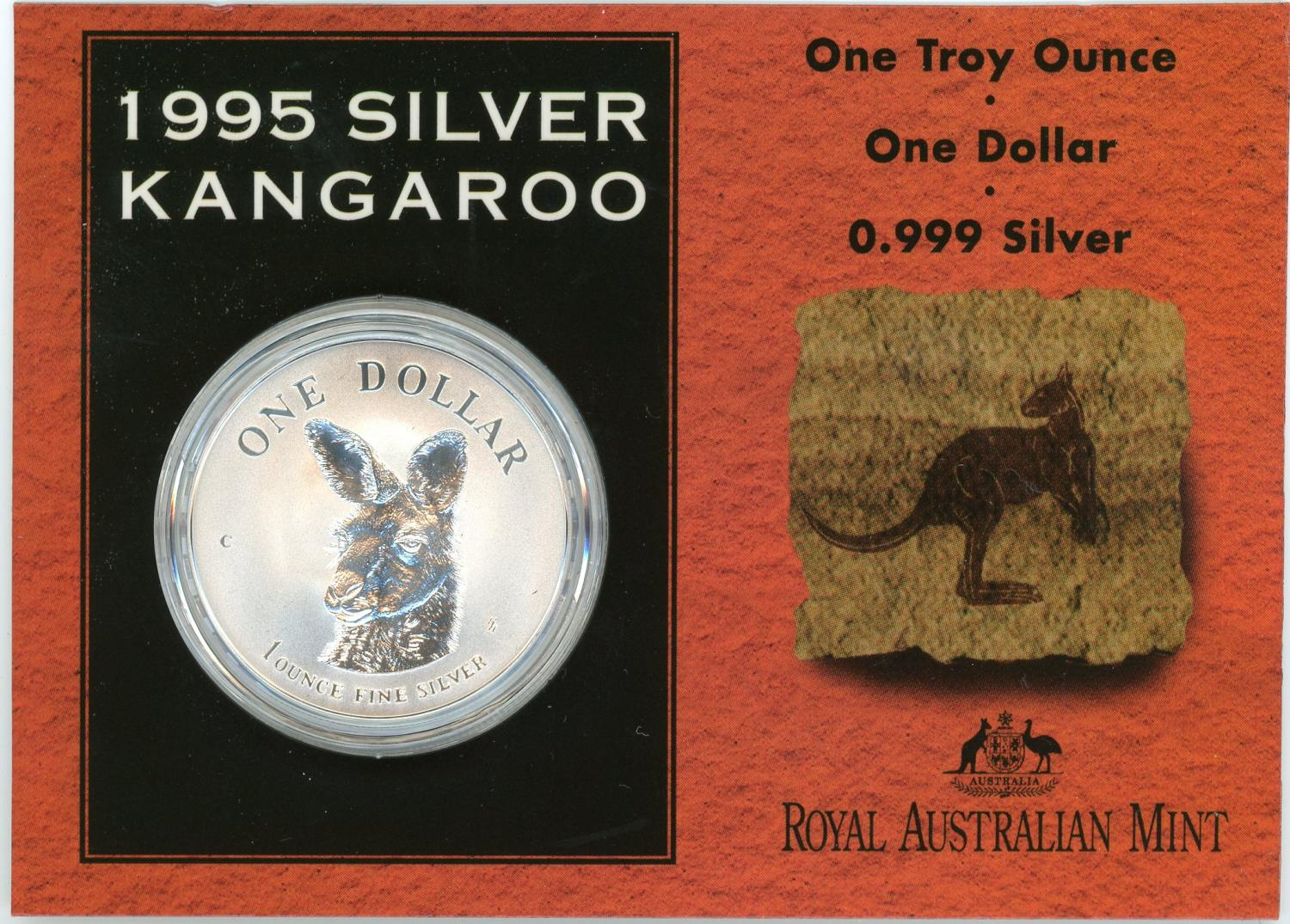 Thumbnail for 1995 1oz One Dollar Silver Kangaroo