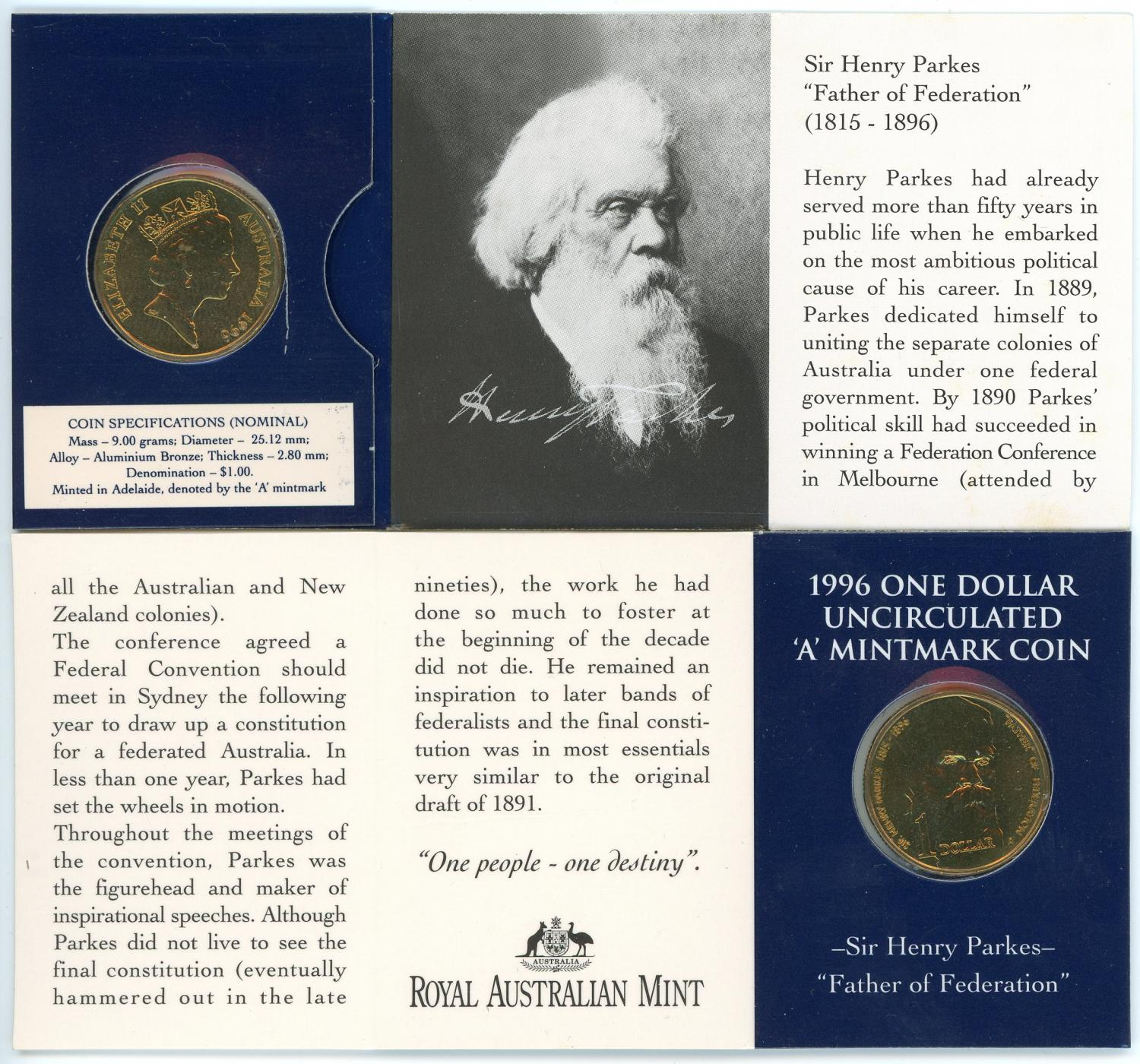 Thumbnail for 1996 $1 Sir Henry Parkes - A Mintmark