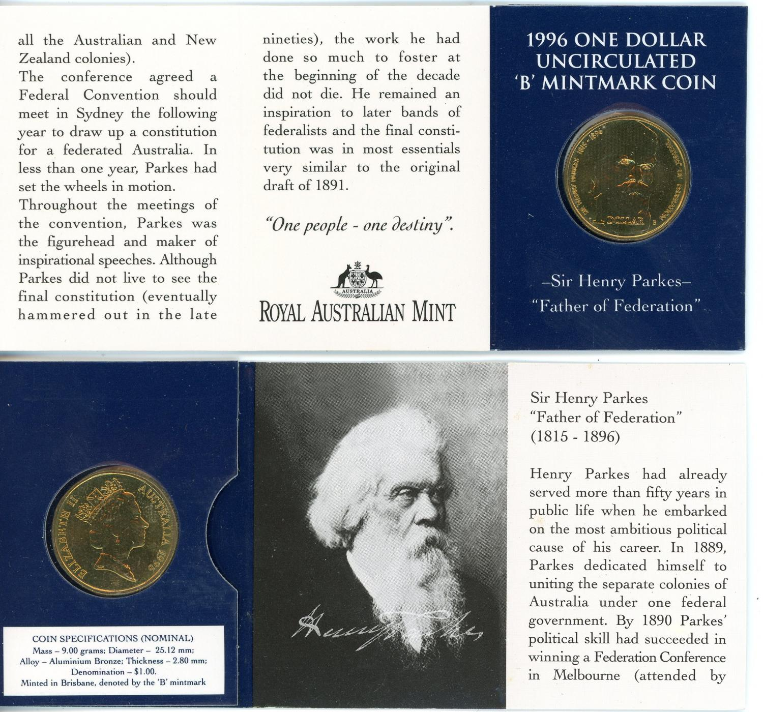 Thumbnail for 1996 $1 Sir Henry Parkes - B Mintmark