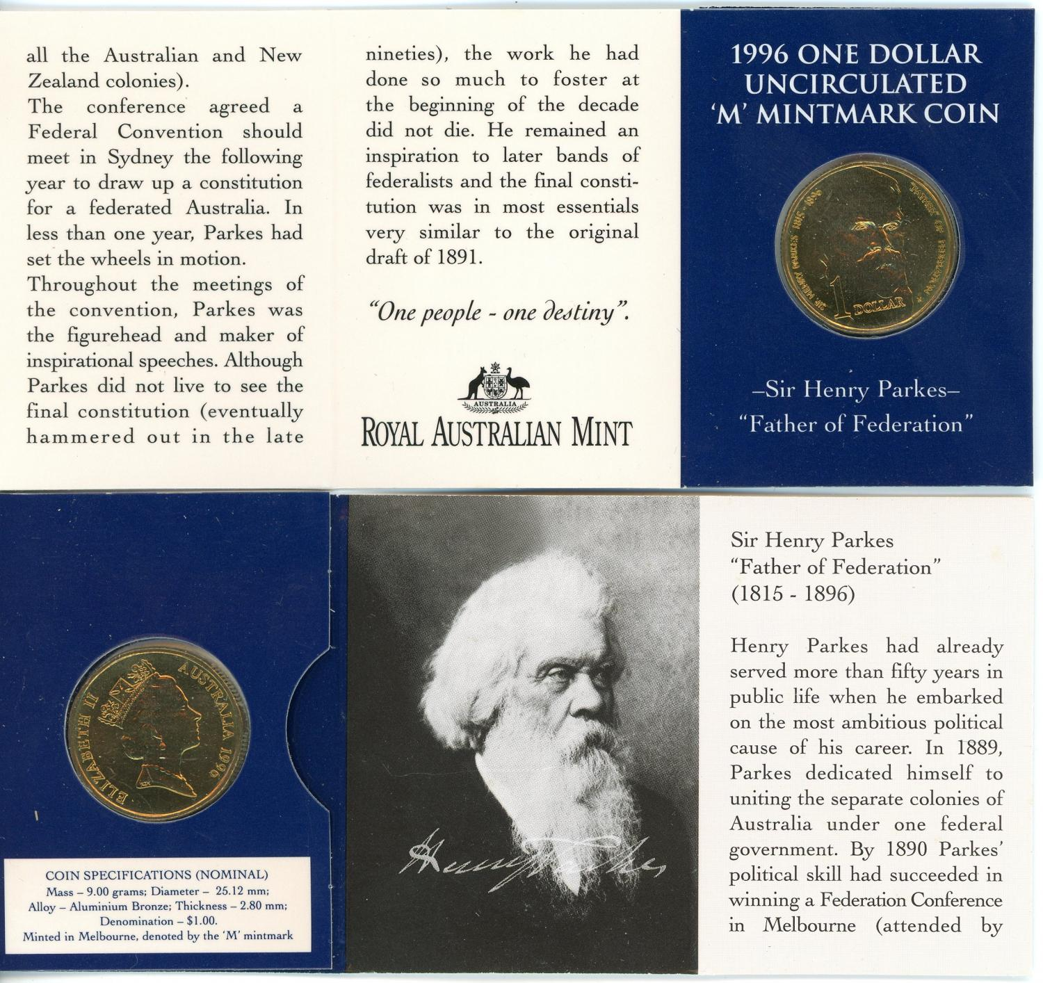 Thumbnail for 1996 $1 Sir Henry Parkes - M Mintmark