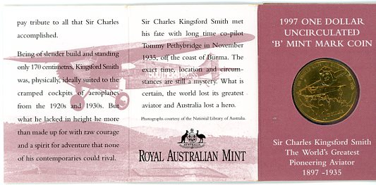 Thumbnail for 1997 Sir Charles Kingsford-Smith B Mintmark