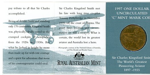 Thumbnail for 1997 Sir Charles Kingsford-Smith C Mintmark
